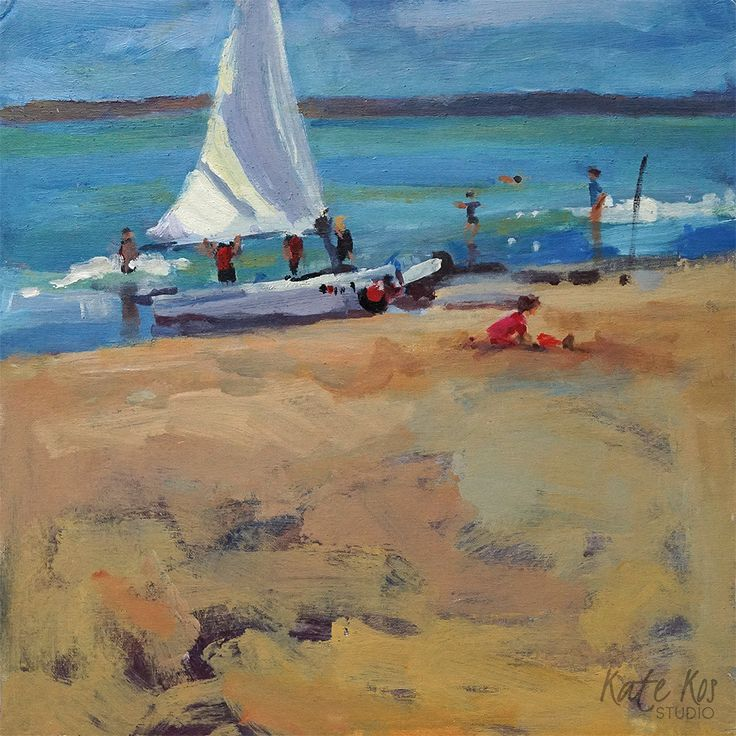 Ready To Go: Original acrylic landscape painting of dinghy boat being prepared for lesson of sailing. Painted plein-air in… #IrishArt