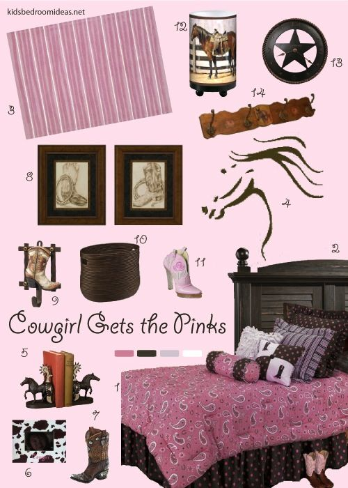 new take on a cowgirl room full of pinks horses and boots because