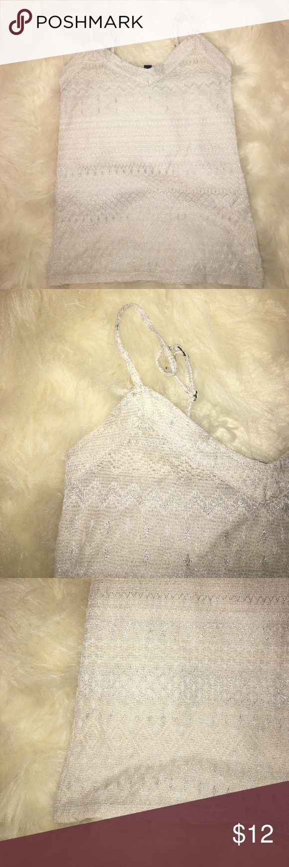 American Eagle nude metallic cami adjustable strap Super shiny nude cami perfect for the holiday season. It is sheer ! American Eagle Outfitters Tops Camisoles