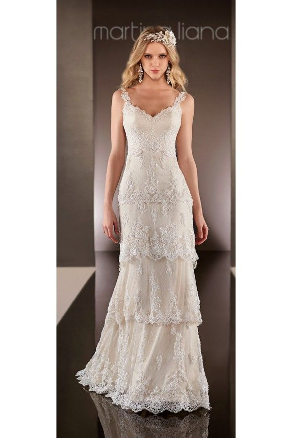 Vestidos de novia sencillos modernos con capas de encaje estilo vintage  bohemio , Vestidos de Novia