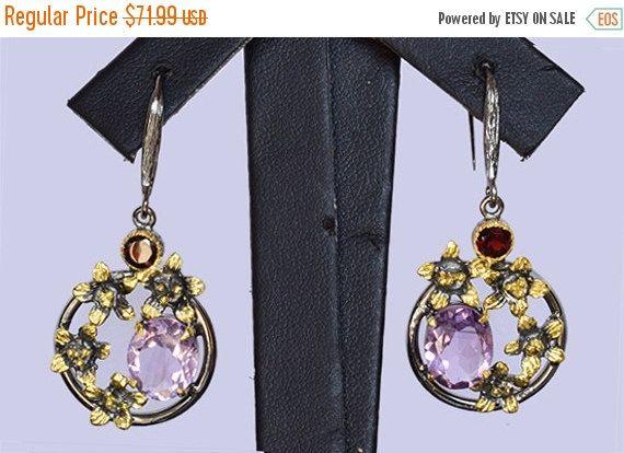 Beautiful Amethyst Garnet Earring, Handmade Designer Earring, 925 Solid Sterling Silver Jewelry, Natural Gemstone, INC-153