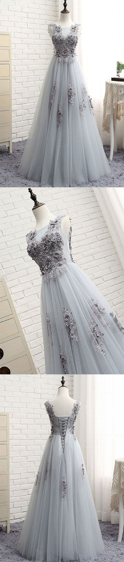 Gray round neck tulle lace applique long prom dress, gray evening dress, gray tulle bridesmaid dress