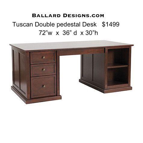 ballard designs tuscan double pedestal 2 person desk