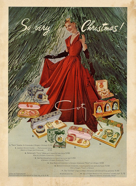 """Vintage Christmas Ad ~ Coty """"So very Christmas!"""" ©1948* 1500 free paper dolls toys at artist Arielle Gabriels The International Paper Doll Society Christmas gift for Pinterest pals also free China & Japan paper dolls The China Adventures of Arielle Gabriel Merry Christmas to Pinterest users *"""
