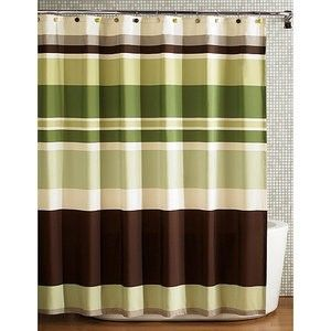Green Striped Shower Curtain - Foter