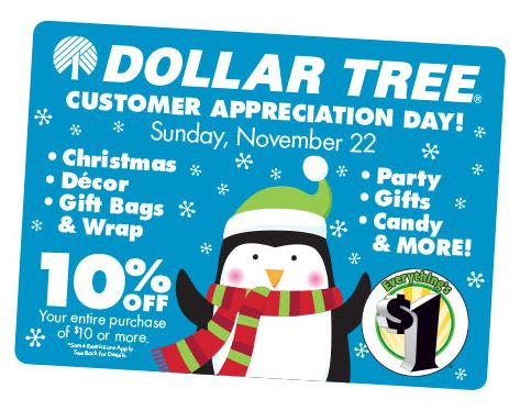 Get 10% off at Dollar Tree During Customer Appreciation Day (11/22 Only) - http://dollartreesavings.com/get-10-off-at-dollar-tree-during-customer-appreciation-day-1122-only/