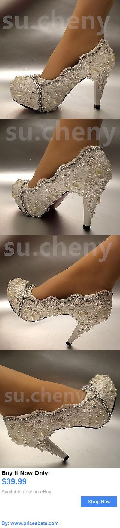 Wedding Shoes And Bridal Shoes: 3 / 4 White Ivory Lace Crystal Pearl Wedding Shoes Bridal High Heels Size 5-10 BUY IT NOW ONLY: $39.99 #priceabateWeddingShoesAndBridalShoes OR #priceabate