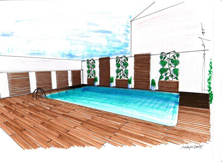 Boceto para decoración de ambiente de piscina en vivienda unifamiliar en Montoro (Córdoba)