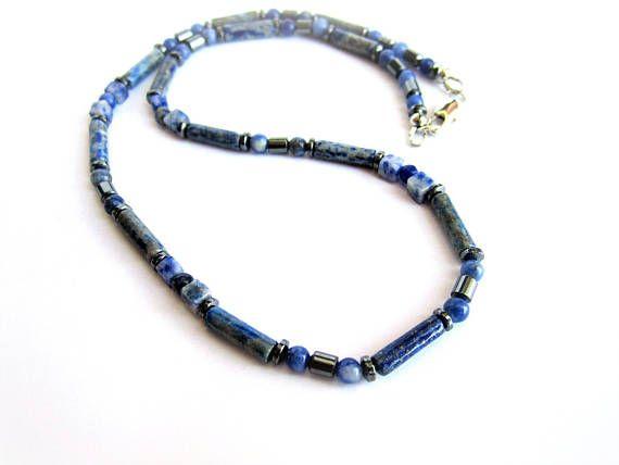 Men lapis lazuli necklace blue stones necklace sodalite
