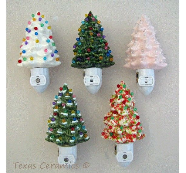 Soft Pink Ceramic Christmas Tree Night Light with Light Sensitive Automatic Fixture