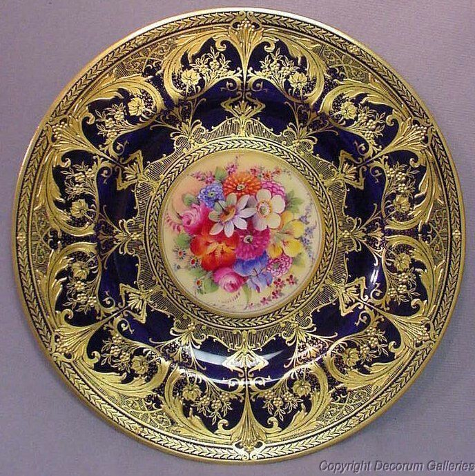 Royal Worcester Set of 6 H/P Floral Plates signed S.Stanley & W.H.Austin