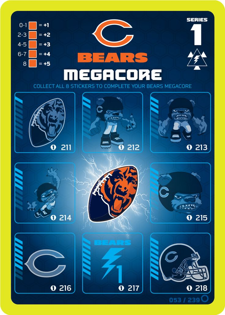 Chicago Bears Megacore card (without the PowerStickerz ...