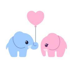 Cute cartoon elephant couple vector art illustration