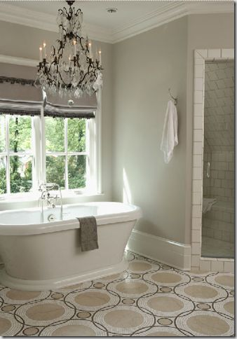 I love the idea of a modern take on an old clawfoot style tub.  And I love chandeliers in bathrooms. Obsessed