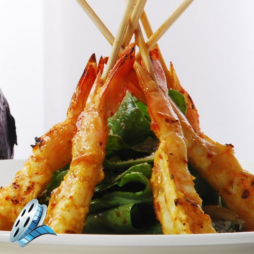 Barbecued Shrimp with Baby Spinach Salad!