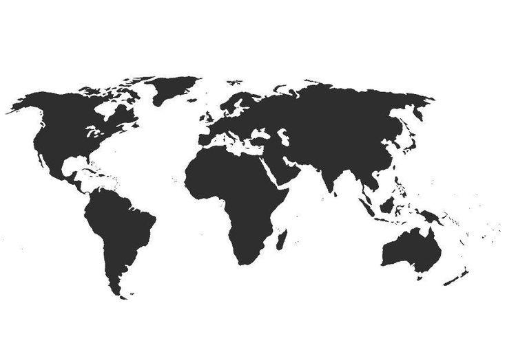 Actividades para niños preescolar, primaria e inicial. Plantillas con mapas del mundo y por continentes para imprimir. Mapas. 26