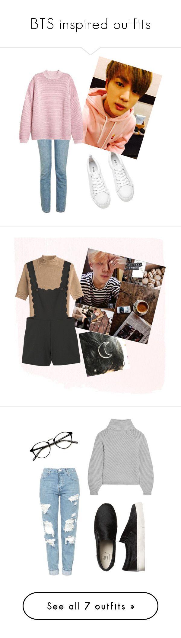 """""""BTS inspired outfits"""" by bangtan-lover ❤ liked on Polyvore featuring H&M, Topshop, Theory, MANGO, Iris & Ink, STELLA McCARTNEY, Gap, Balmain, Current/Elliott and Vince"""