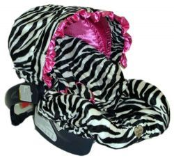 Infant Zebra and Hot Pink Minky Car Seat Cover