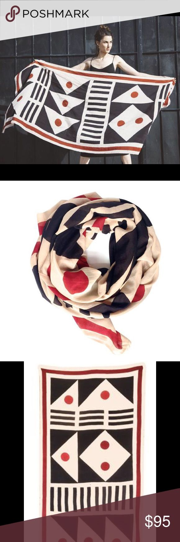 """Blockshop Textiles Signal scarf NWT NWT. I simply have too many scarves. This is brand new from the Blockshop  collection that came out about 1 mo. ago. Retails for $120+ shipping.  """"Bold pattern inspired by antique nautical flags found in Maine, in the colorway of natural red & black on soft beige harda ground. Striking as a wallhanging or scarf.""""  Variation in printing & color are hallmarks of hand block printing with natural dyes. Made in India.  25% silk, 75% cotton 34 x 86"""" natural…"""