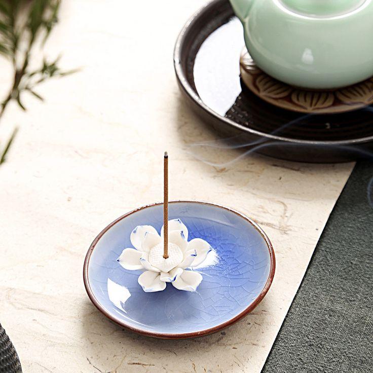 Lotus Flower Beautiful Incense Burner Holder Mais
