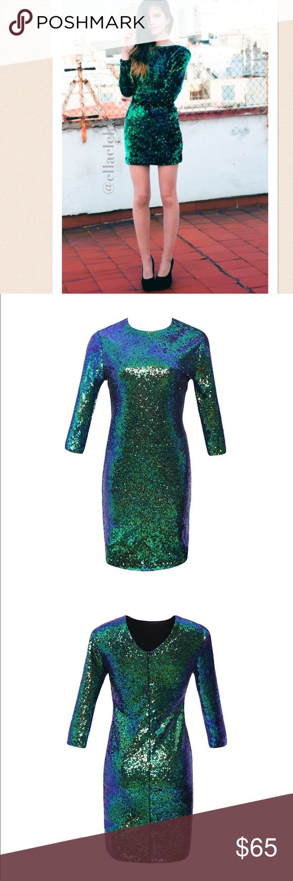 Mermaid Peacock Color Green Sequin Party Dress Brand new. Polyester. Luxurious glimmering sequins ensure a comfortable flattering fit. A dress that will sparkle its way through the night, the perfect party outfit! Browse my closet to see more dresses. Follow me to see new listings. PLEASE CHOOSE ONE SIZE UP. Dresses Long Sleeve