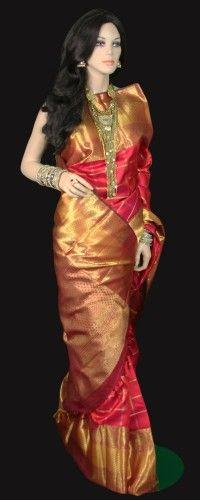 Red Kanjeevaram Bridal Saree with Zari Checks