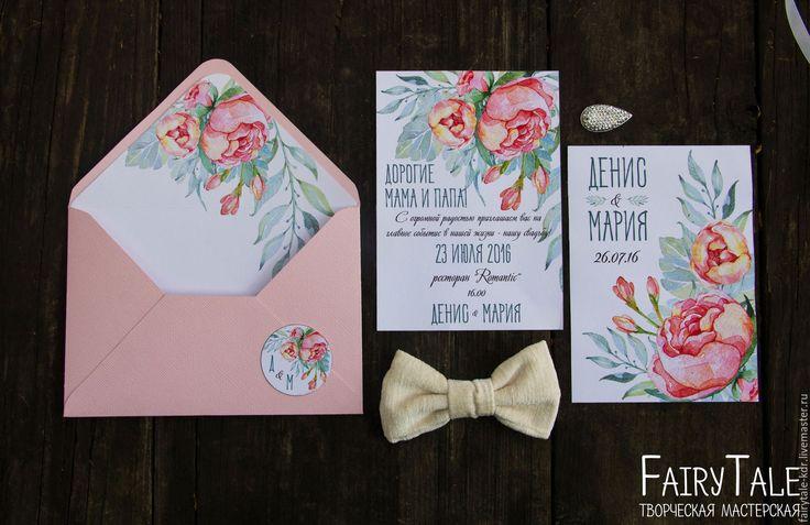 """Купить Приглашение на свадьбу """"Нежные пионы"""" - бледно-розовый, приглашение, пригласительное, свадебное приглашение"""