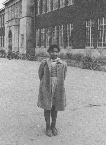 This is Miss Brown of Brown vs Board of Education -- Linda Brown at Monroe Elementary in Topeka, Kansas. 1951 case brought by her parents and other plaintiffs, formed the basis for the landmark Supreme Court decision of May 17, 1954.