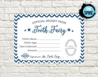 Tooth Fairy Receipt Printable / INSTANT DOWNLOAD / Tooth Fairy Letter / Lost Tooth Receipt Printable                                                                                                                                                     More