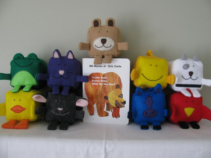 Eric Carle - inspired Brown Bear, Brown Bear collection - Felt Cubes/Blocks Plushie Toy Sewing Pattern. $7.99, via Etsy.