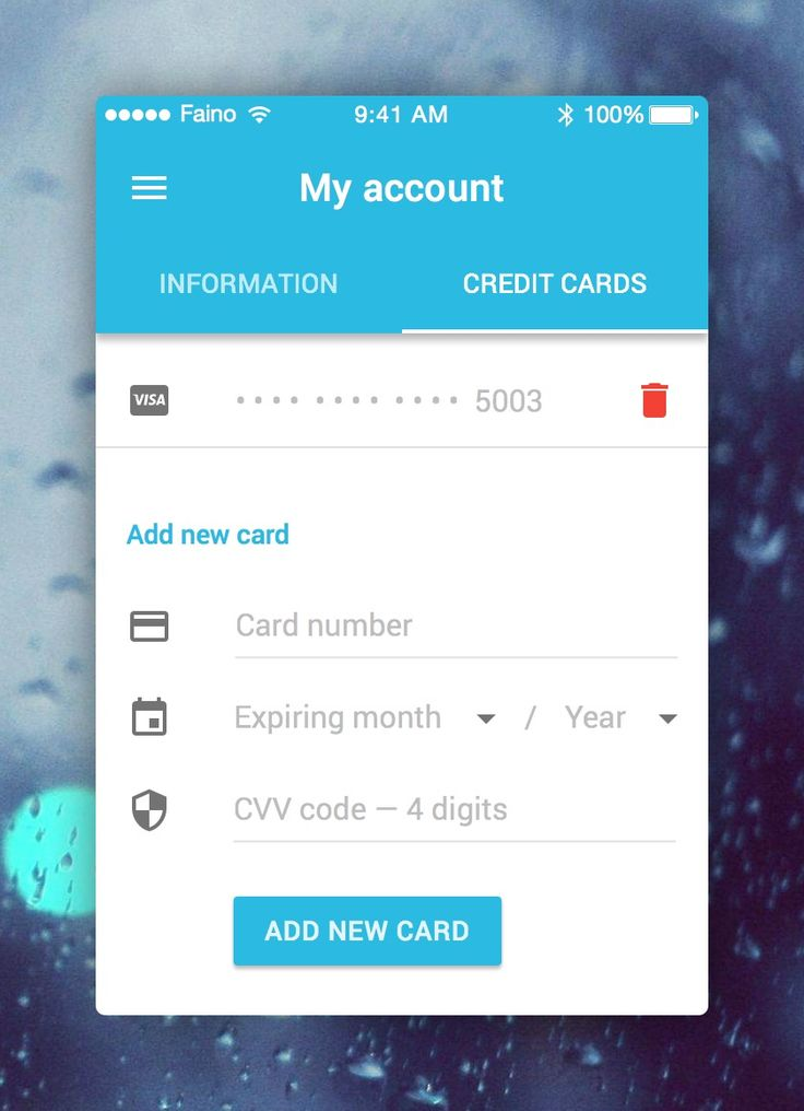My account   credit card