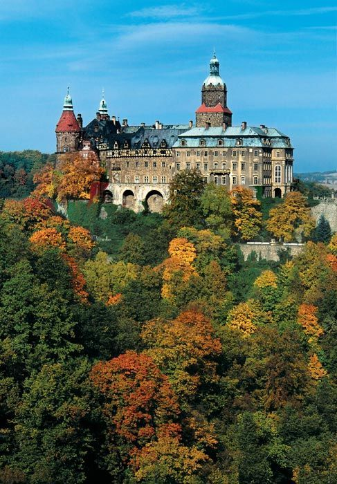 The Ksiaz Castle in Wałbrzych in Lower Silesian Voivodeship, Poland. It overlooks the Pełcznica River and is one of the city's main tourist attractions.