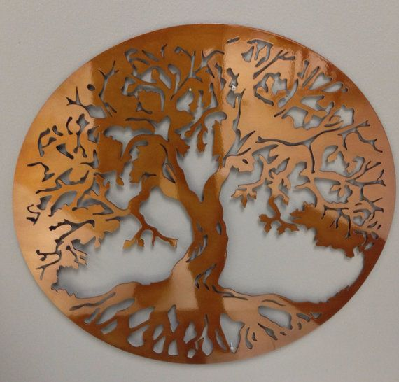 """Round Tree of Life industrial metal wall art in caramel copper finish 24"""" on Etsy, $49.00"""
