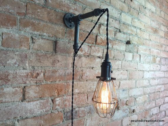 Custom order for Carole - Edison Sconce - Industrial Furniture - Bulb Cage - Wall Sconce - Plug In Wall Lamp - Pendant Light