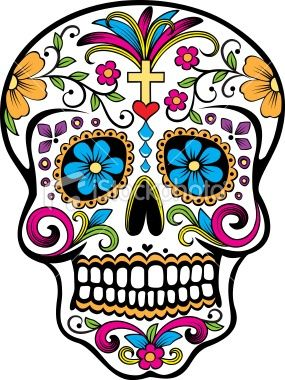 Colorful sugar skull sugar-skull-love make that cross a little more Celtic... And slap it on my ribs.