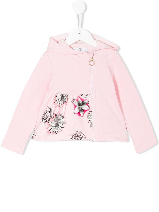 Versace floral print zip up hoodie
