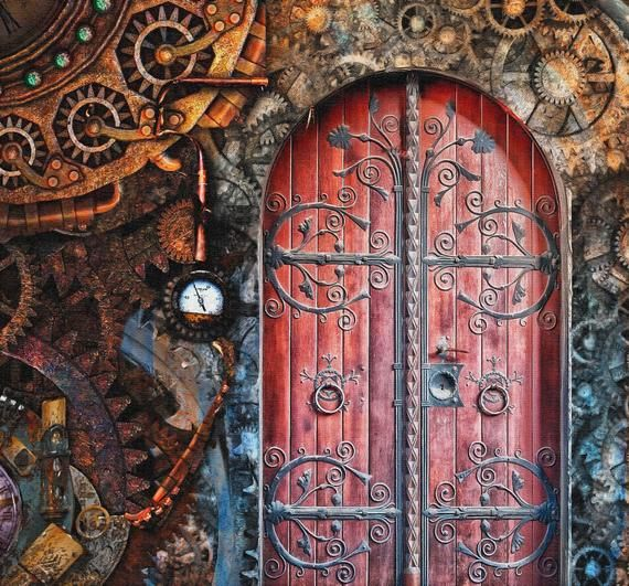 Steampunk Door Removable Wallpaper Colorful Photo Of Gothic Etsy Steampunk Door Vintage Doors Gothic Room