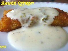 SAUCE CITRONNEE POUR POISSON (pour 4 personnes) :  - le jus d'1 citron  - 125 ml de crème fraîche épaisse (allégée possible)  - 2 càs de moutarde  - 1 poignée de persil (selon vos goûts)  - sel, poivre