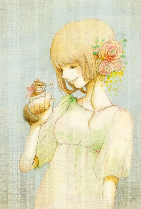 """Eriko Kurita (In the Pocket), """"ラナンキュラス"""" (""""Ranunculus""""). <3 (And apparently a ranunculus is a genus of plant that includes flowers like buttercups and lesser celandines. I didn't know that. That dear chipmunk is giving her a ranunculus.)"""