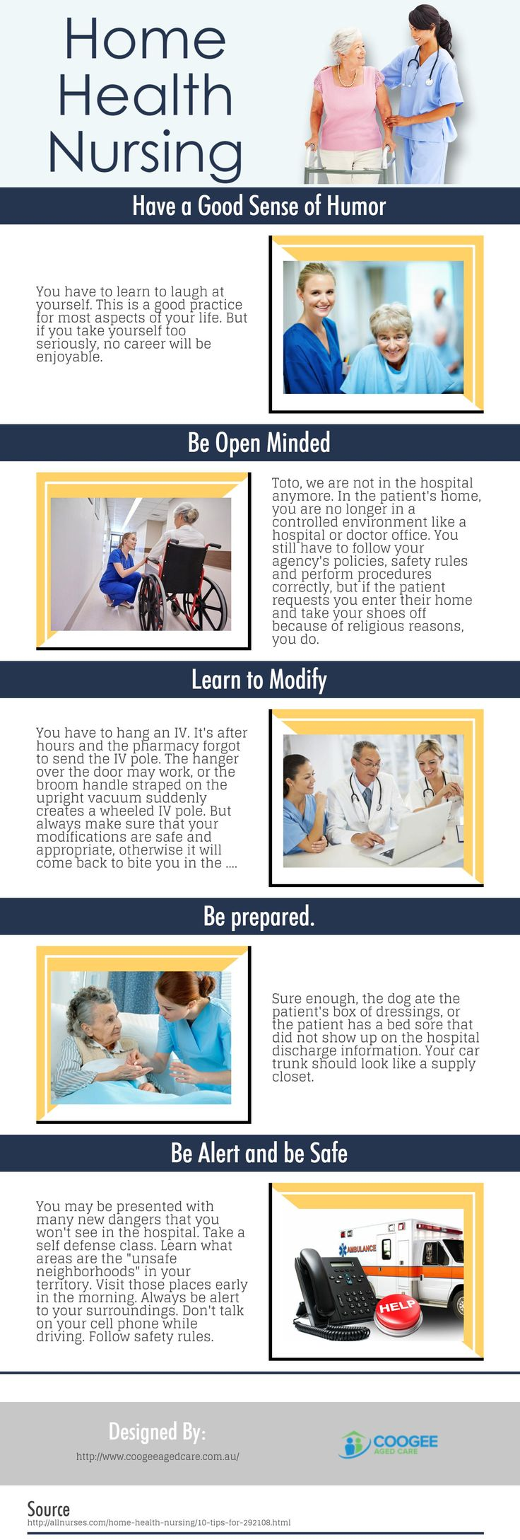 The following infographic is created by Coogee Aged Care. Home health nurses are becoming more popular and in great demand - providing the much-needed care to the aging population. A home health nurse works in the home with various patients, providing a wide array of treatments and support. In this infographic, we go over the five most prominent of them and discuss their responsibilities in some detail.