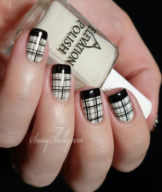 Sassy Shelly: Nails and Attitude: Digit-al Dozen DOES Black & White ~ Day 3: French Tips & Plaid! M60