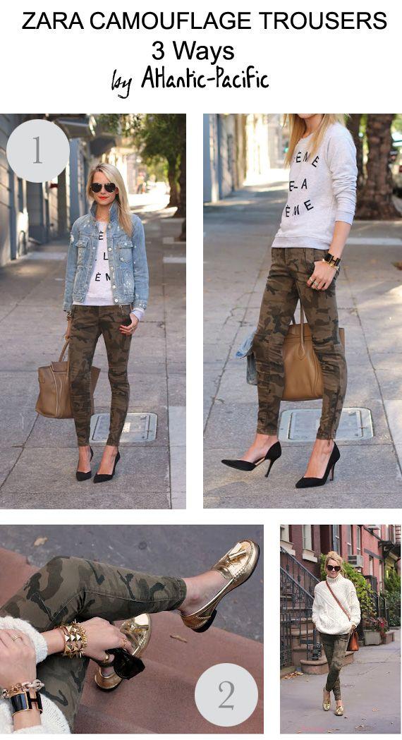 loft in soho: Zara camouflage trousers, 3 Ways