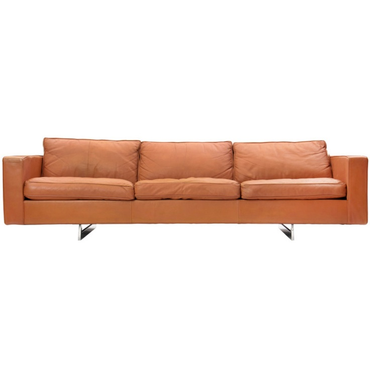 leather sofa on chrome sled base - jens risom - usa - 1970s