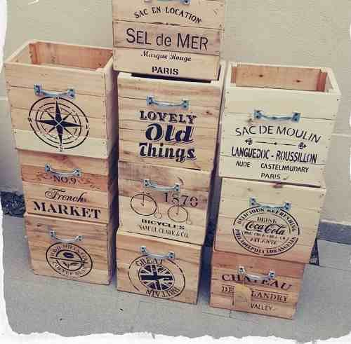 cajon caja organizador de madera recuperada manija