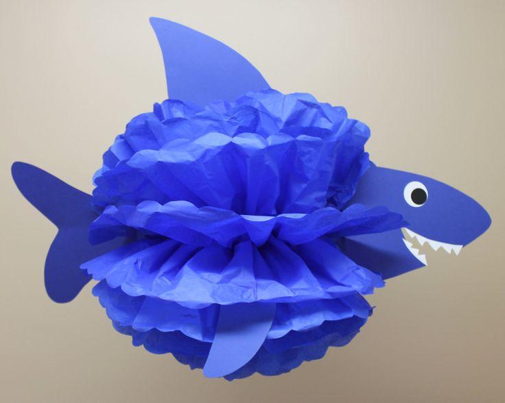 Kit de pom tiburón papel pom en la por TheLittlePartyShopNY en Etsy
