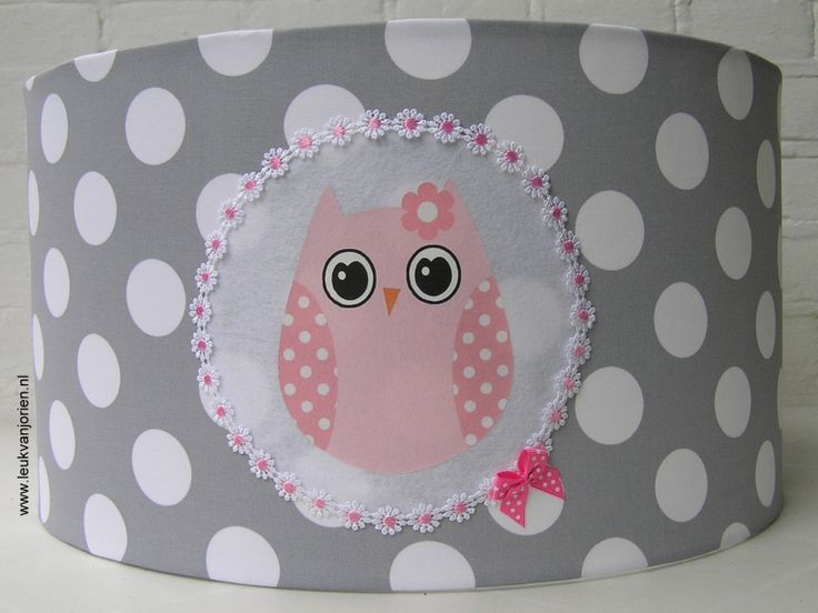 meisjeslamp grijs grote witte bol met roze uil