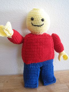"Lego Minifigure by Trish Hicks - This pattern is available for free. This pattern is for a crochet Lego Minifigure. He stands about 16"" high. I made this guy for my 12-year old son who was thrilled to get him on Christmas morning. I couldn't find a crochet pattern for a Lego man so I decided to make my own. I've never written a pattern before so if there's a problem, please let me know."
