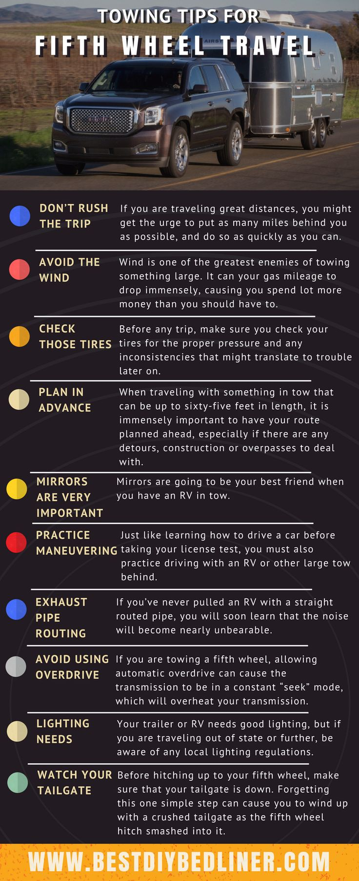 The #fifthwheel is put all the weight on the bumper. So, it's important to know some tips while attaching the fifth wheel on towing vehicle. In this infographic, I have listed tips for the fifth wheel. https://www.bestdiybedliner.com/travel-trailer-vs-fifth-wheel/