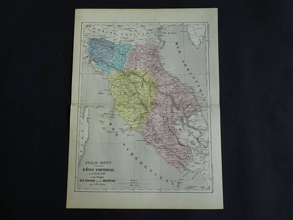 ITALY antique map 1858 original old French print about centrak