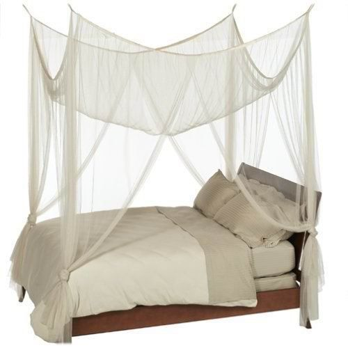 Lit Baldaquin Bois Blanc : Canopy Bed Curtains